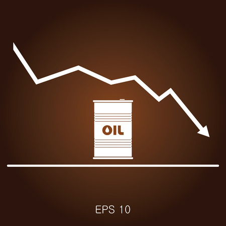 scale up: Oil prices flat vector illustration. Barrel.