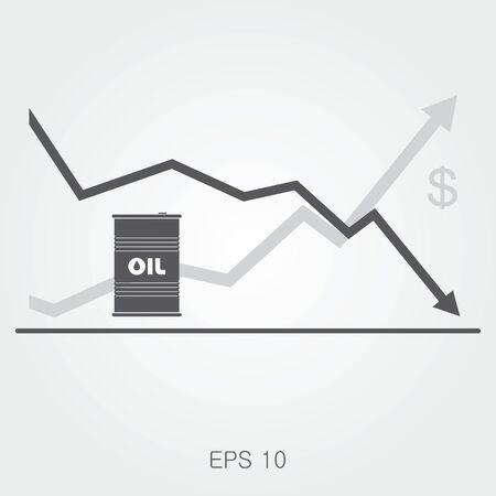 De olieprijs plat vector illustratie