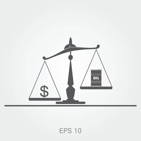 scale up: Oil prices flat vector illustration
