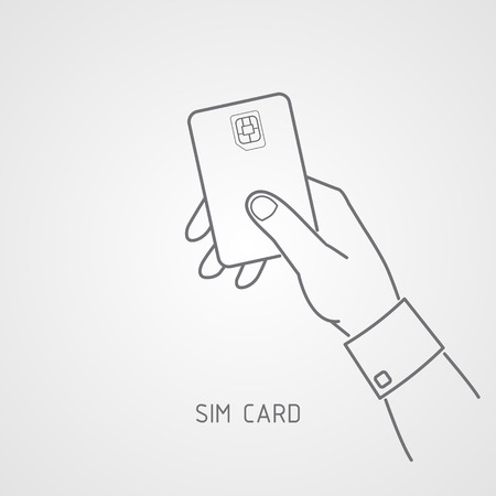 3g: Hand holding a SIM card. Symbol. Vector icons for video, mobile apps, Web sites and print projects. Illustration