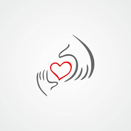 mercy: Heart in hand flat vector icon.Charity, health, voluntary, caring hand
