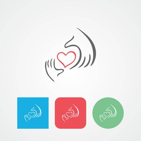 voluntary: Heart in hand flat vector icon.Charity, health, voluntary, caring hand
