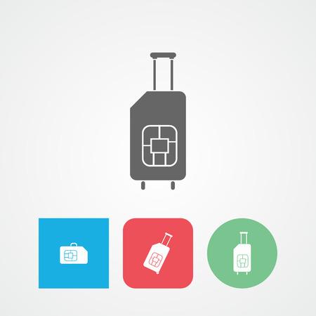 roaming: Travel SIM flat vector icon. Roaming. Luggage.