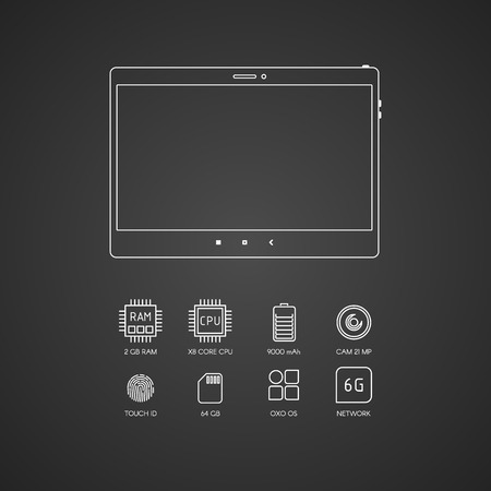 specifications: Tablet computer specifications with flat line icons.
