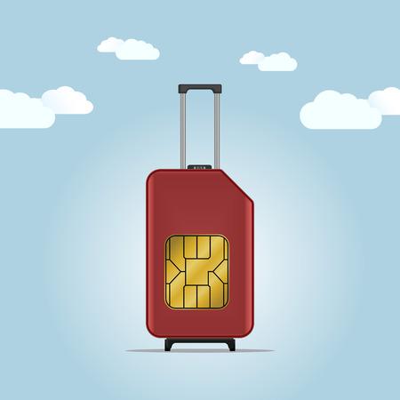 roaming: Travel luggage SIM card. Roaming.