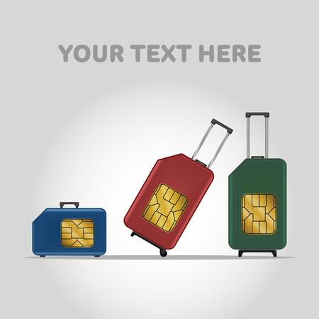 Travel luggage SIM card. Roaming. Stock Vector - 52910930