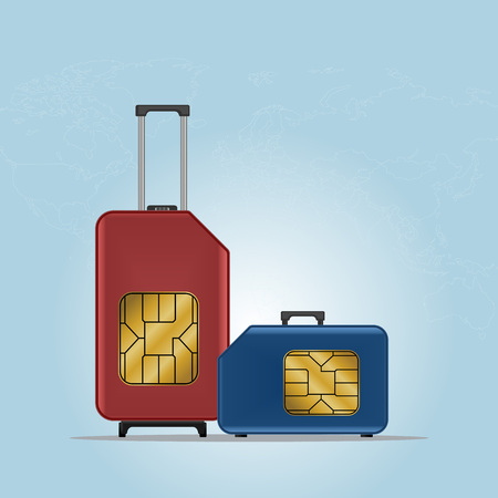 gsm phone: Travel luggage SIM card. Roaming.