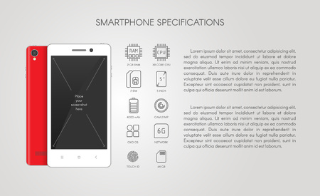 iphon: Smartphone specifications with flat line icons.