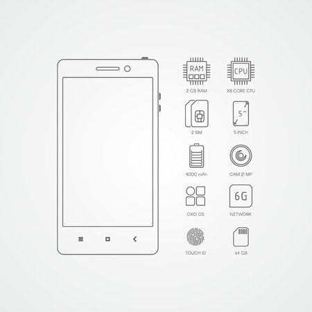 specifications: Smartphone specifications with flat line icons.