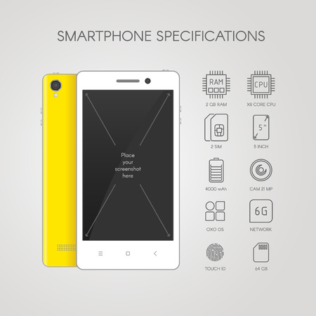 smartphone icon: Smartphone specifications with flat line icons.
