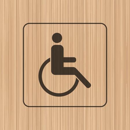 original plate: Invalid wheelchair toilet door  wall plate. Original WC icon. Sign.