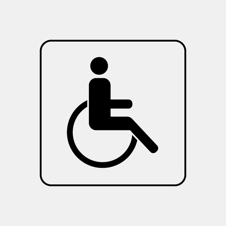 Invalid wheelchair toilet door / wall plate. Original WC icon. Sign. Ilustração