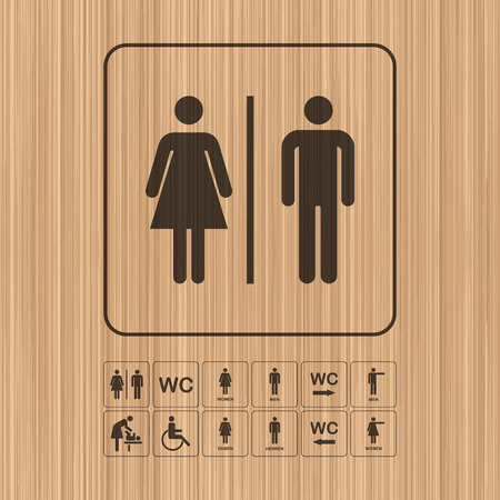 wc: Toilet door  wall plate. Original WC icon. Sign.