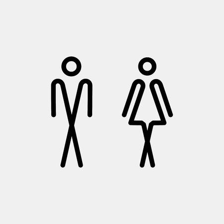 simbolo uomo donna: porta del bagno  piastra a muro. icona WC originale. Segno.