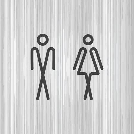 Toilet door / wall plate. Original WC icon. Sign. Vetores