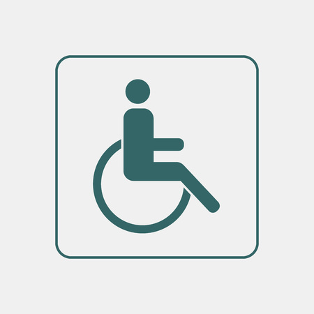 door plate: Invalid wheelchair toilet door  wall plate. Original WC icon. Sign.