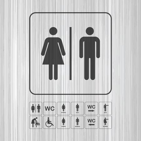 original plate: Toilet door  wall plate. Original WC icon. Sign.