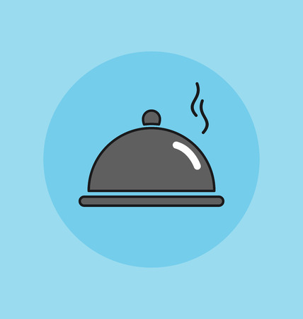 food plate: Cloche, food plate vector sign illustration icon Illustration