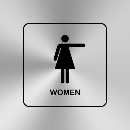 flechas direccion: puerta del aseo placa  pared. WC icono original. Firmar.