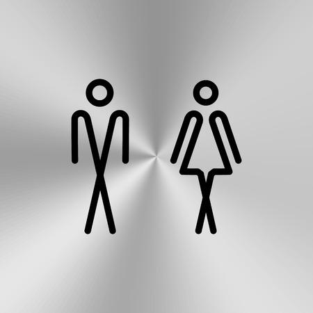 Toiletdeur / wandplaat. Original WC icoon. Teken. Vector Illustratie