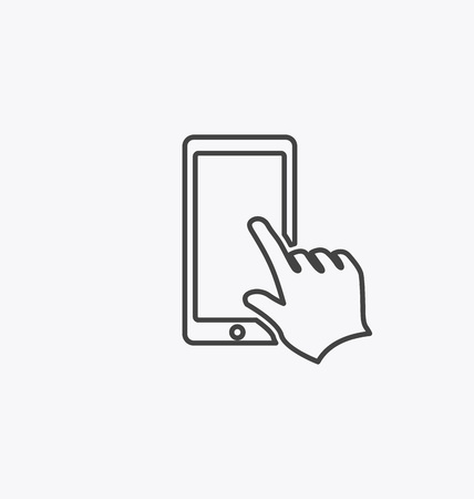 iphon: Finger touching smartphone screen icon.