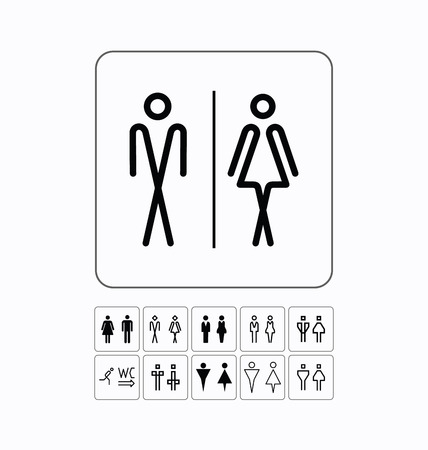 man and women wc sign: Toilet doorwall plate. Original WC icons set.