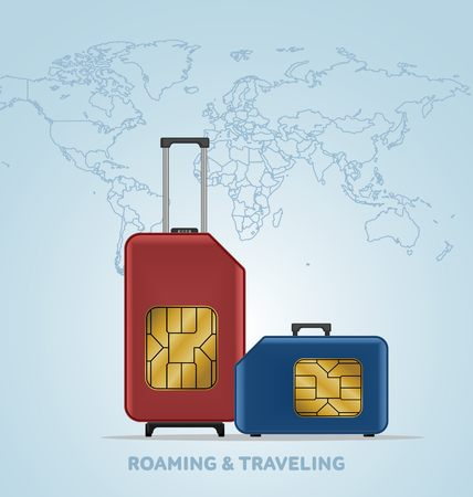Travel SIM vector illustration on blue radial gradient background. Roaming. Luggage. World map. Иллюстрация