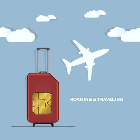 Travel SIM vector illustration on blue radial gradient background. Roaming. Luggage. World map. Imagens - 57201527
