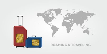 roaming: Travel SIM vector illustration on blue radial gradient background. Roaming. Luggage. World map. Illustration