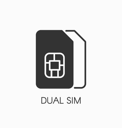 dual: Dual SIM icon vector sign.
