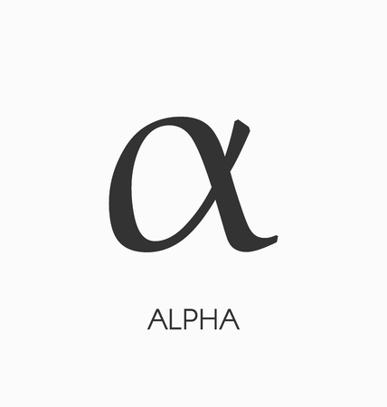 Alpha letter vector sign. Ilustrace