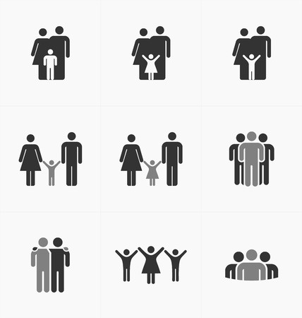 People icons set on white background, silhouette vector. Business and family.