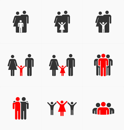 family discussion: People icons set on white background, silhouette vector. Business and family.