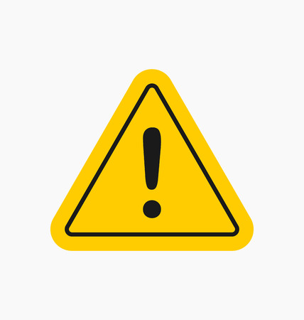 hazard damage: Caution icon  sign in flat style isolated. Illustration