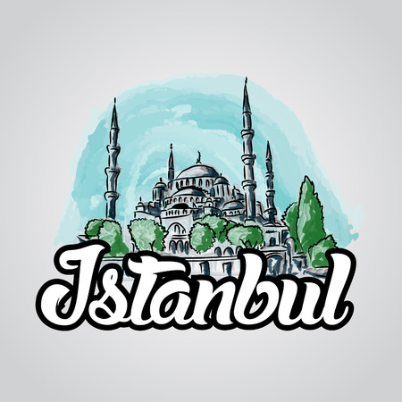 byzantine: Istanbul hand drawn vector sketch illustration blue mosque. Sultan Ahmet mosque in Istanbul city center.