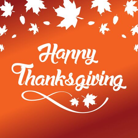 caes: Thanksgiving greeting card with Happy Thanksgiving lettering text vector illustration. Vectores