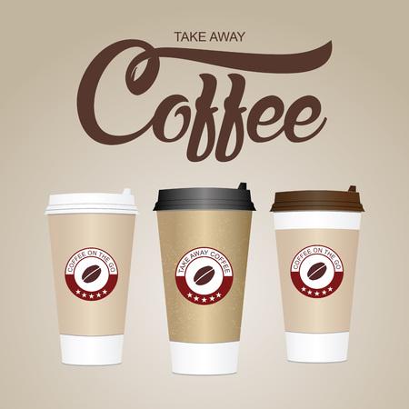 커피 컵. 멀리 종이 / 플라스틱 커피 컵 벡터 일러스트 레이 션. 벡터 (일러스트)