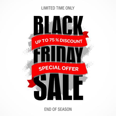 limited: Black Friday sale inscription best design template. Black Friday banner, poster, badge, sticker, web advertising vector illustration.