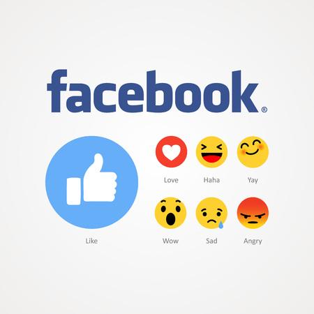 Baku, Azerbaijan - December 14, 2016: Facebook new like buttons.