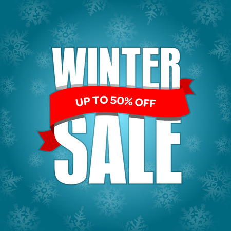 Winter sale badge, label, promo banner template. Up to 50% OFF discount sale offer. Vector illustration.