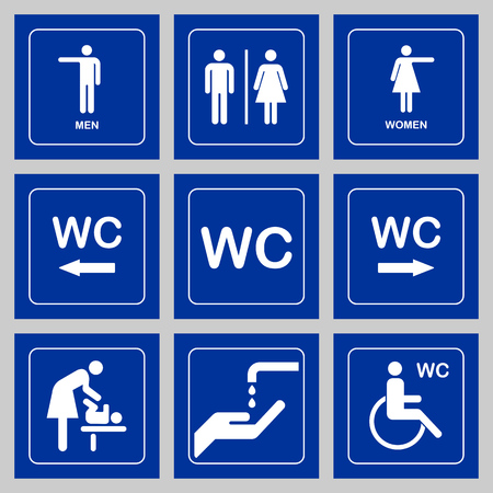 door plate: WC  Toilet door plate icons set. Men and women WC sign for restroom.