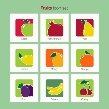 Fruit icon set simple flat vector illustration.
