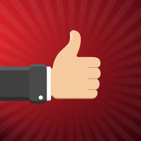 Thumb up symbol, finger up vector illustration. Like gesture hand. 向量圖像