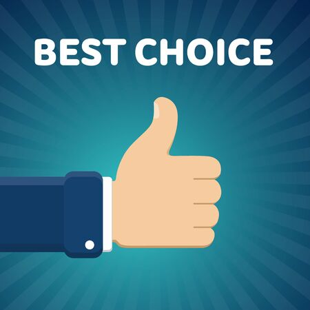 disapprove: Finger up vector illustration with Best choice text on blue radial gradient background. Thumb up image.