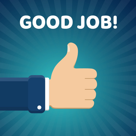 Finger up vector illustration with Good job text on blue radial gradient background. Thumb up image.