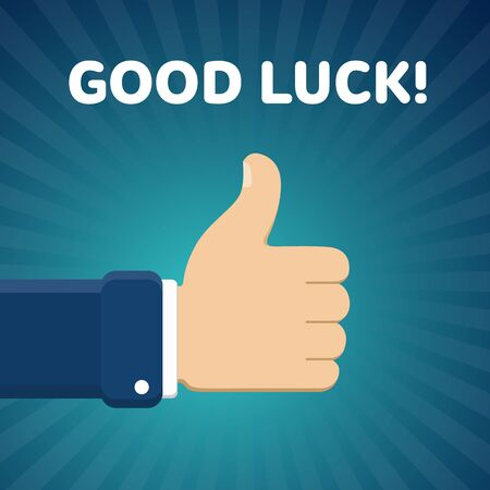 disapprove: Finger up vector illustration with Good luck text on blue radial gradient background. Thumb up image. Like gesture.