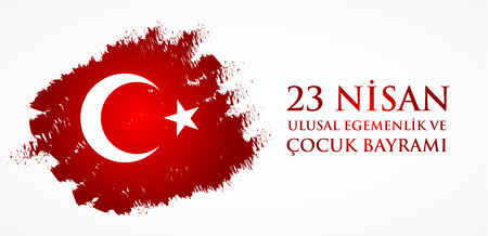 Nice 23 nisan uluslar egemenlik ve cocuk baryrami. Translation: Turkish April 23 National Sovereignty and Childrens Day. Vector illustration.