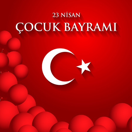Beautiful red 23 nisan cocuk baryrami. Translation: Turkish April 23 Childrens Day. Vector illustration. Illustration
