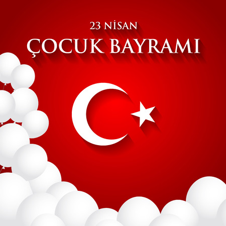 Cool 23 nisan cocuk baryrami. Translation: Turkish April 23 Childrens Day. Vector illustration. Illustration