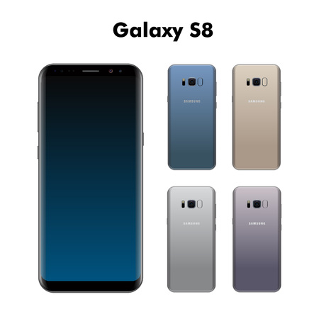 samsung: Baku, Azerbaijan - April 06, 2017: Samsung Galaxy S8 different colors isolated on white background.